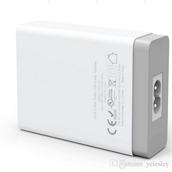40 Watts 5V / 8A 5 Portas certificated 5 port usb carregador de bateria Mais novo portáteis fast multi USB Smart Charger port usb carregador