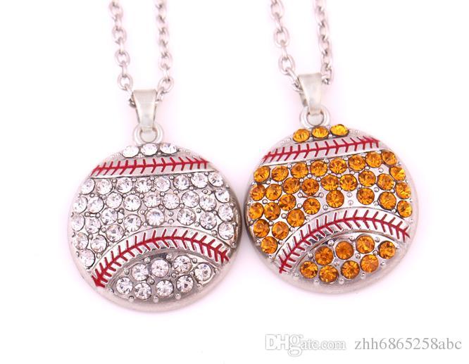 野球またはソフトボールネックレス送料無料ファッションシルバーホワイトラインストーンレッドエナメル野球ペンダントネックレススポーツジュエリー