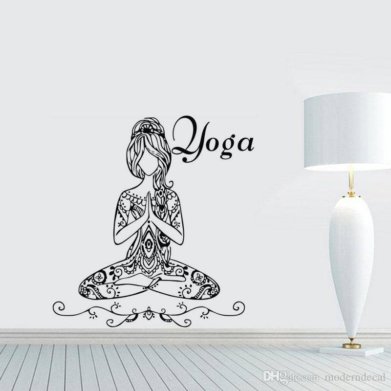 Yoga Lotus Pose Wall Stickers Words Gym Wall Decor Vinyl Wall Decals Home Interior Design Bedroom Studio Window Dorm Art Murals Quote Stickers For Wall Quote Stickers For Walls From Moderndecal 11 65