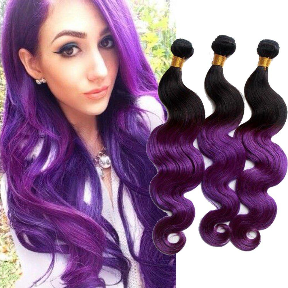 3 Bundle Two Tone Purple Hair Extension Peruca Ombre Purple Peruvian
