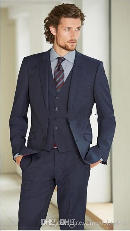 새로운 정장 턱시도 정장 남성 웨딩 정장 슬림 맞는 비즈니스 신랑 정장 세트 남성용 S-4 XL 정장 정장 턱시도 자켓 + 바지 + 조끼
