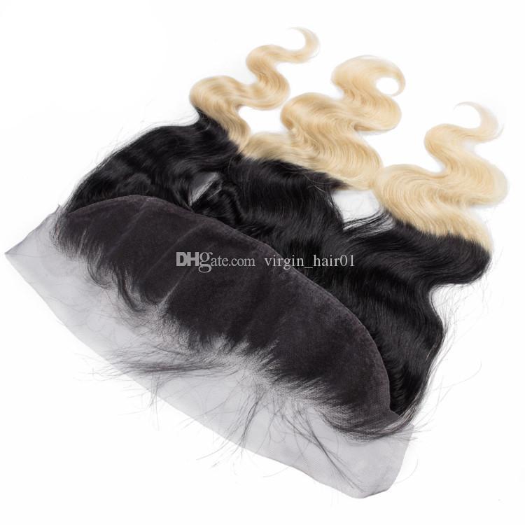 Vierge Péruvienne 1B 613 Deux Tons Corps Vague Armure De Cheveux Avec 13 * 4 Complète Dentelle Frontale Fermeture 1b Blond Ombre Cheveux Bundles