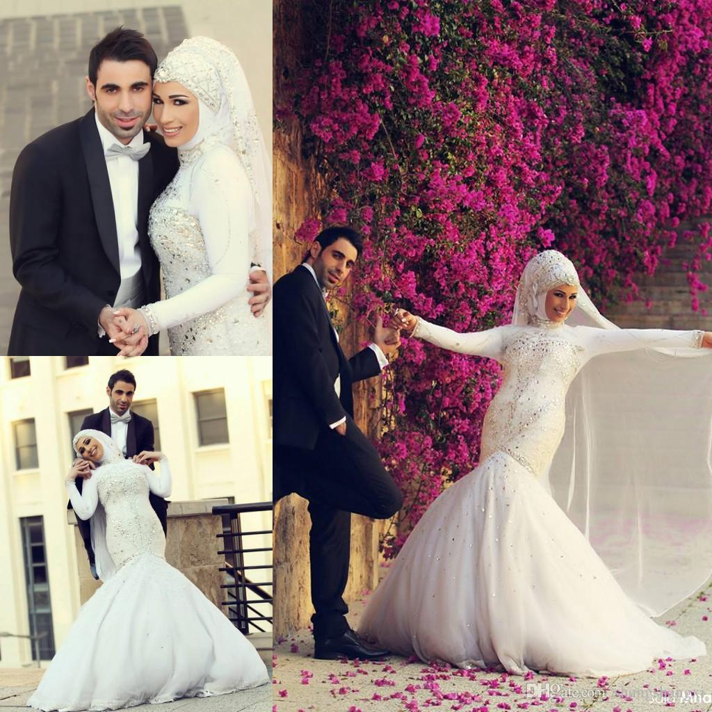 Women dresses 2015 sexy mermaid style muslim wedding dresses women dresses 2015 sexy mermaid style muslim wedding dresses luxurious crystals rhinestones long sleeves arabic hijab bridal gowns trumpet sexy mermaid ombrellifo Choice Image