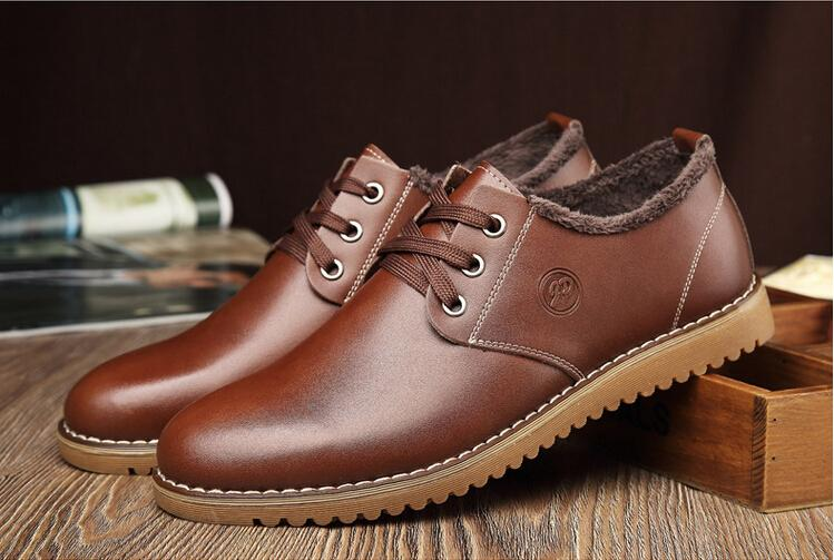 Mens Winter Warm Leather Shoes