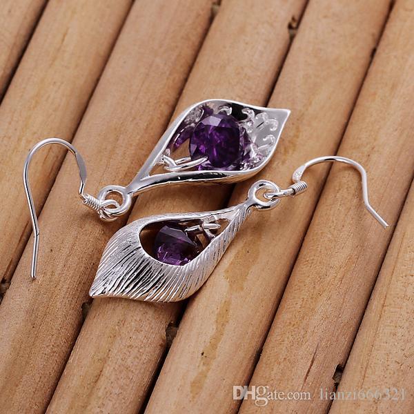 Moda ładna eksplozja modele w Europie i Ameryce Moda Sick Fioletowy Diament 925 Srebrne Kolczyki Srebrne Kolczyki 1208