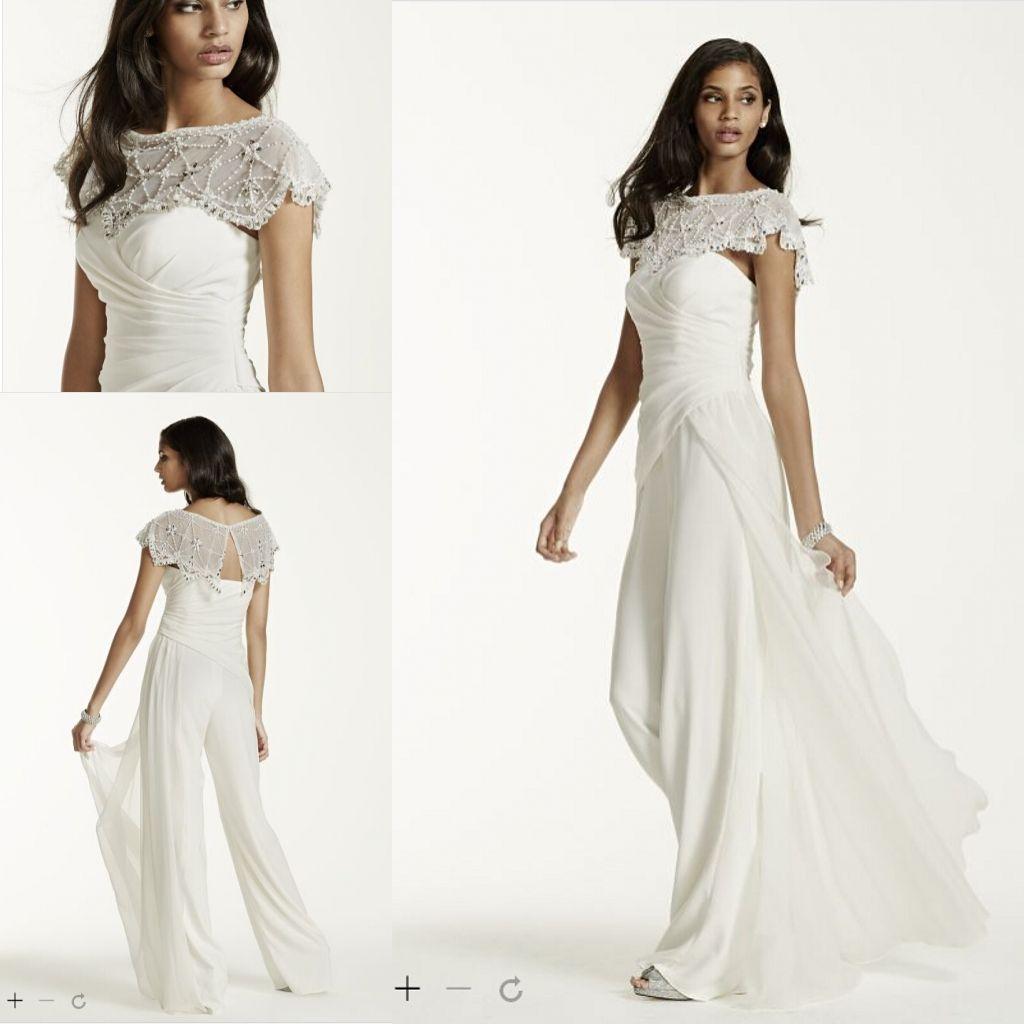 Großhandel Günstige Mode Brautkleider Side Draped Crepe Jumpsuit Mit ...