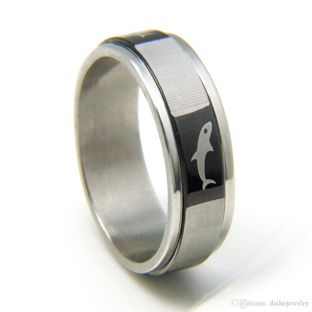 best popular modern fashion european and american style black dolphin engraved titanium rin wedding rings for - Dolphin Wedding Rings