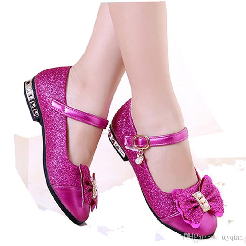 Compre Flores Niños Niñas Niños Lentejuelas Bebé Vestido De Princesa Zapatos  Para Niñas Fiesta De Boda Zapatos De Cuero De Baile De Navidad Rosa Rojo  Rosa ... 10a2275631f4