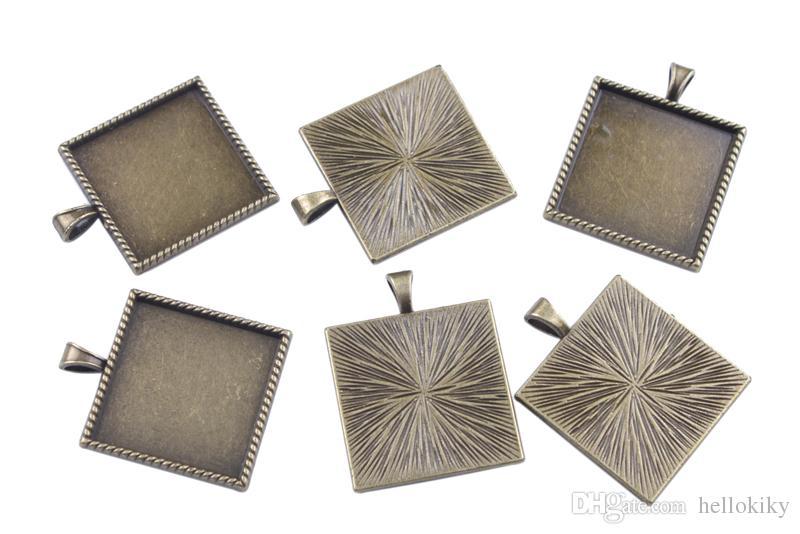 50st 1 tum Cabochon Inställningar Hängsmycke Brickor Lim på Bail Picture Frame Charms 25mmx25mm