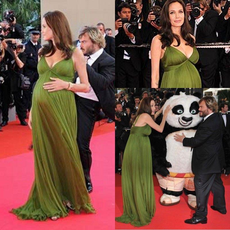 2015 Sexy Angelina Jolie Evening Dresses Deep V Neck Green Chiffon ...