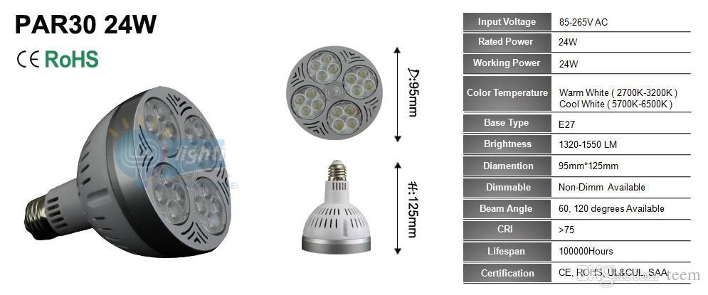 DHL CER UL führte par30 Lichter CREE E27 24W 35W 36W die geführten Birnen, die hinunter Lampe 3600lm Wechselstrom 110-240V beleuchten, führten downlight Scheinwerfer