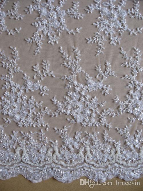 1 jard Luksusowy Francuski Koronki Tkaniny 3D Zroszony Zroszony Haft Rhinestone Koronki Tkaniny Materiał Dress