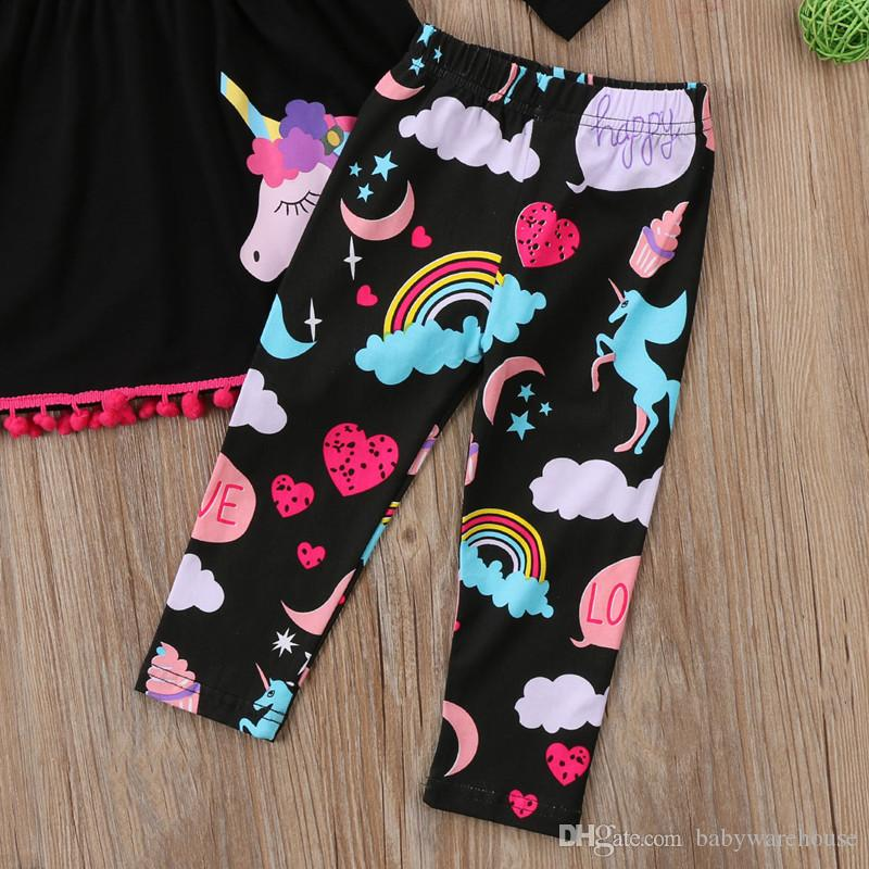 Fall boutique Kids Clothing Baby Girl Clothes Set Girls Tassel Dresses Long Sleeve Unicorn Tops Rainbow Pants Leggings Children Outfits