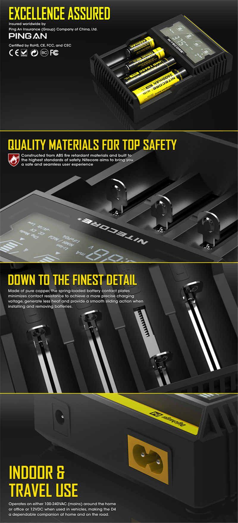 Nitecore D4 범용 충전기 18650 충전식 배터리 박스형 LCD 디스플레이 충전기 Li-ion Ni-MH 26650 22650 E 담배 배터리