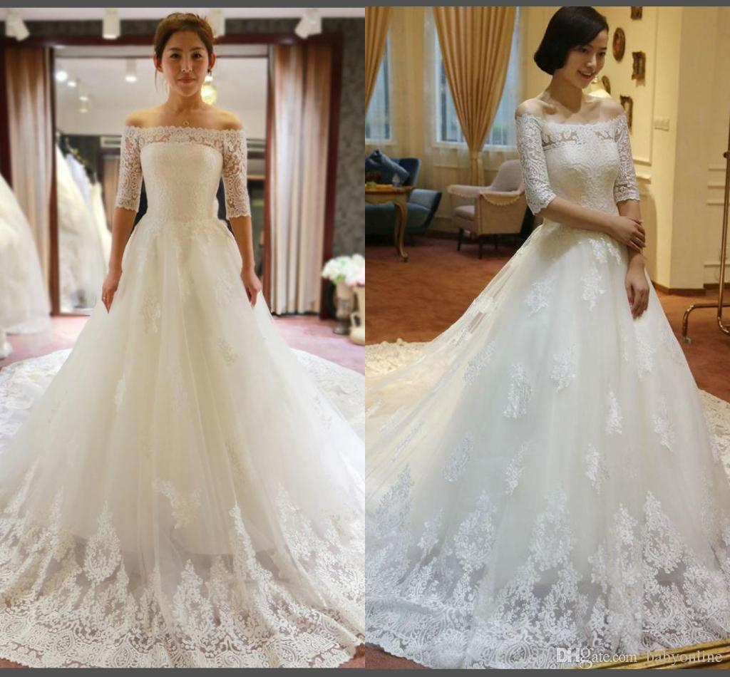 Buy 3/4 Long Sleeve Ball Gown Wedding Dresses Online at Low Cost ...