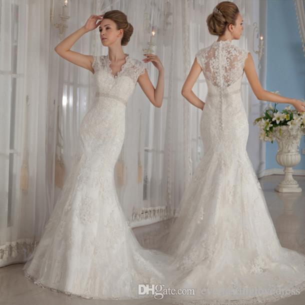 Spanish Lace Wedding Gown: Sexy Spanish Lace Wedding Dresses Mermaid V Neck Modern