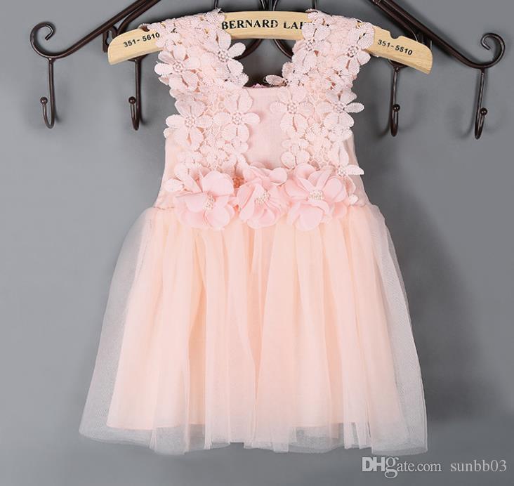 Summer Girls Dress Kids Lace Crochet Flower Vest Dress Gauze Veil Ball Gown Tutu Princess Dress Children Clothing Pink Blue White 10789