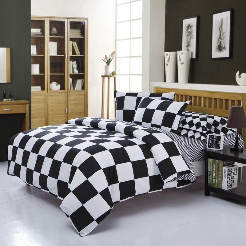 home textile black and white casal bedding sets cover sheet pillow quilt duvet cotton king queen double single bed soft king size duvet covers white duvet