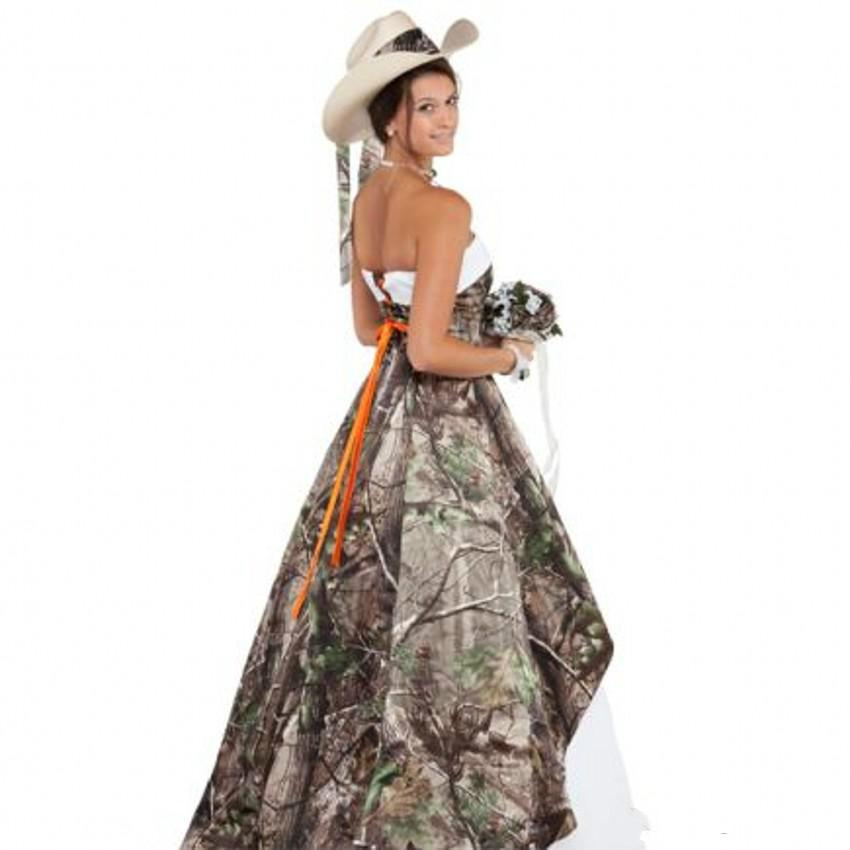 Discount Western Style 2015 Strapless Camo Wedding Dresses Lace Up ...