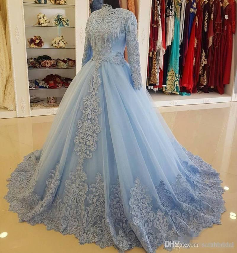 Charming Blue Muslim Lace Ball Gown Wedding Dresses With Long ...