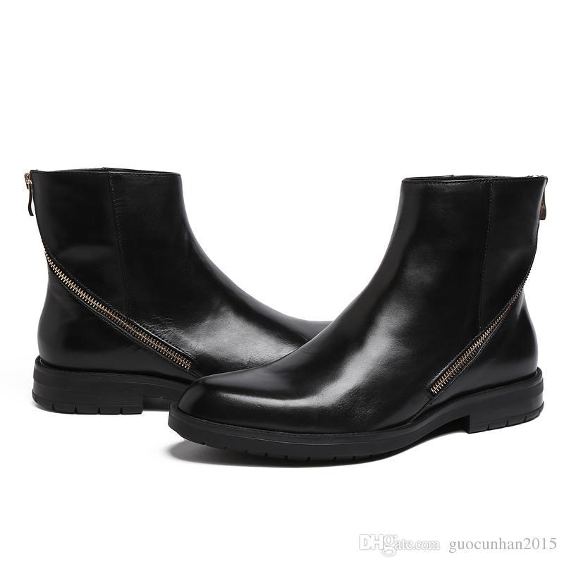 Alta calidad negro para hombre hasta el tobillo cremallera de cuero genuino botas de la motocicleta botas de invierno británicas zapatos romanos Martin Boots hombres