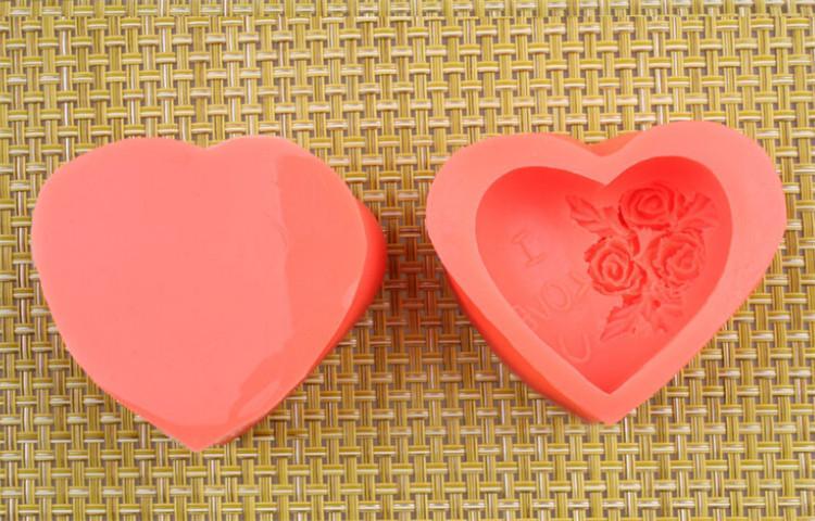 Sıcak 3D Silikon Gül çiçek Kek kalıbı kalp şekli çikolata şeker Kalıpları Sabun Buz gül kek kalıp sevgililer günü hediyesi için