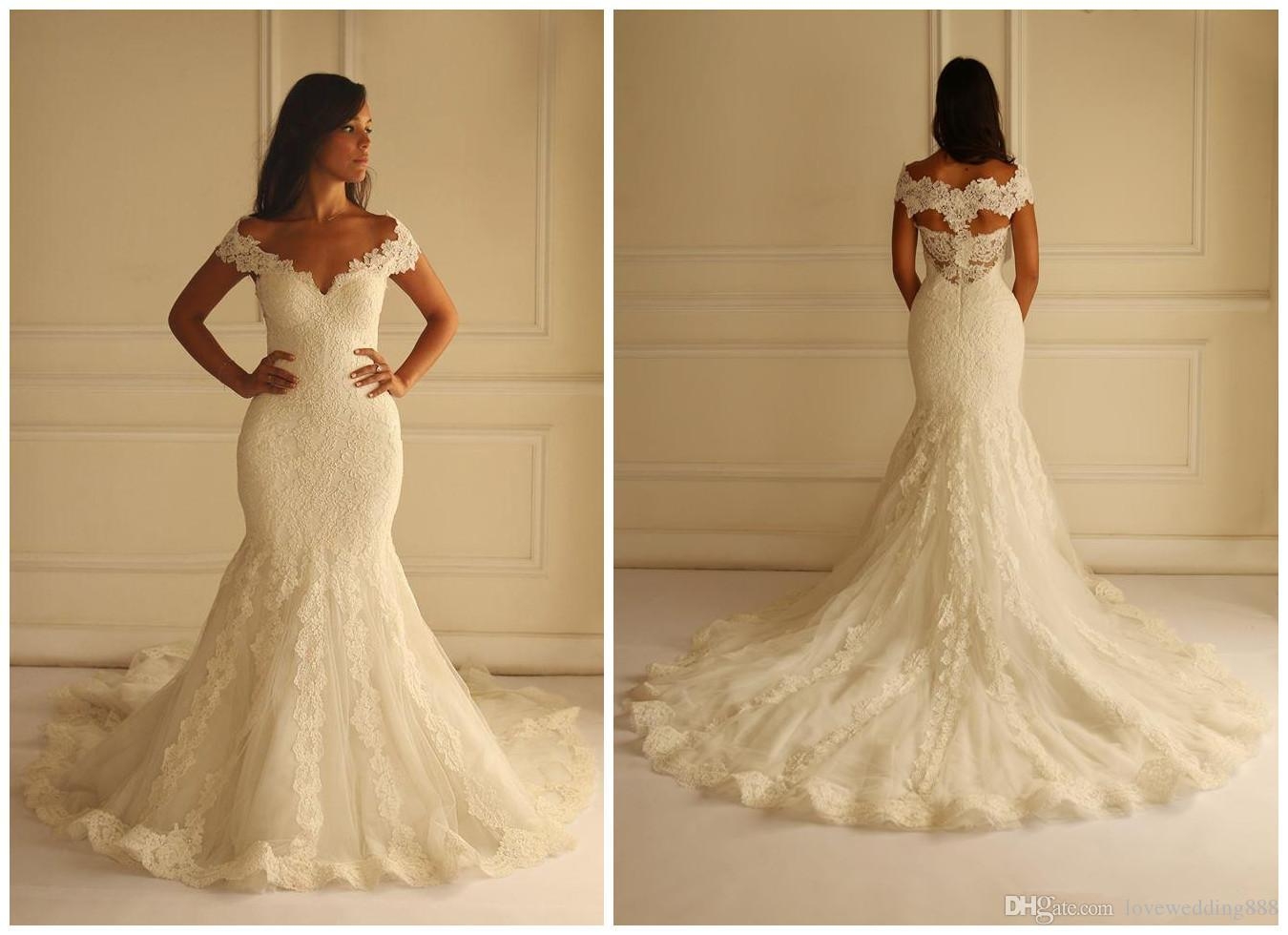 Mermaid Wedding Gowns With Sleeves: Elegant 2015 Wedding Dresses Mermaid V Neck Wedding Gowns