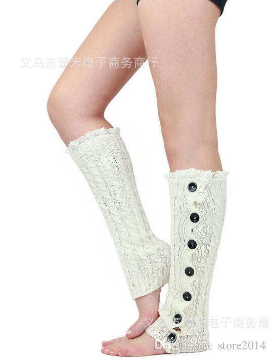 5 teile / los Neueste Frauen Mädchen Beinlinge Button Down Boot Manschetten spitzenbesatz gamaschen Boot Socken Häkeln Beinlinge Stricken Beinlinge TK2
