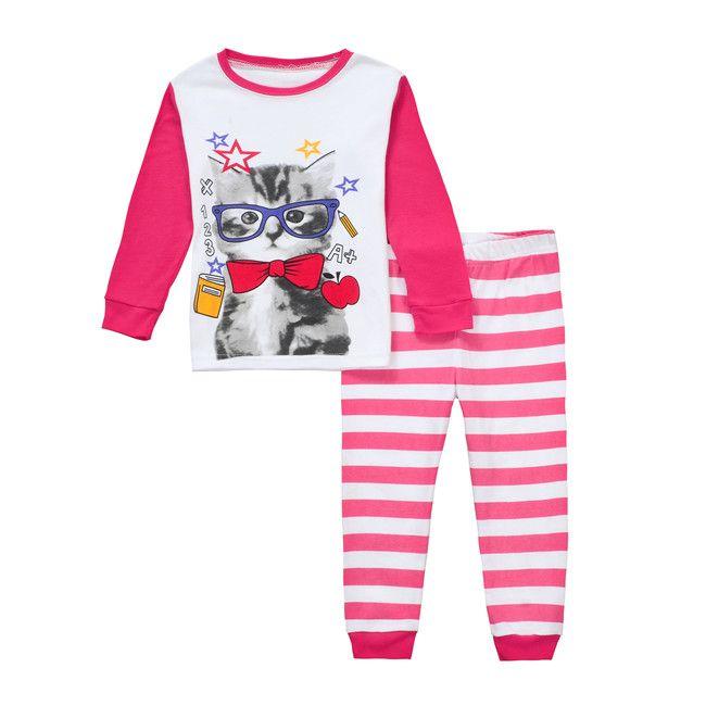 جديد وصول الاطفال طفل رضيع الملابس أعلى السراويل منامة ملابس خاصة نوم البيجامات 2 أجزاء الكرتون longe كم ملابس النوم