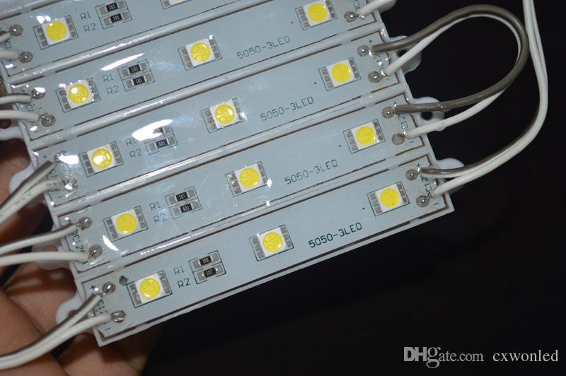 SMD 5050 Módulos LED À Prova D 'Água IP65 Módulos De Led DC 12 V SMD 3 Leds Sinal Led Backlights Para Letras de Canal Fresco Branco Vermelho Azul