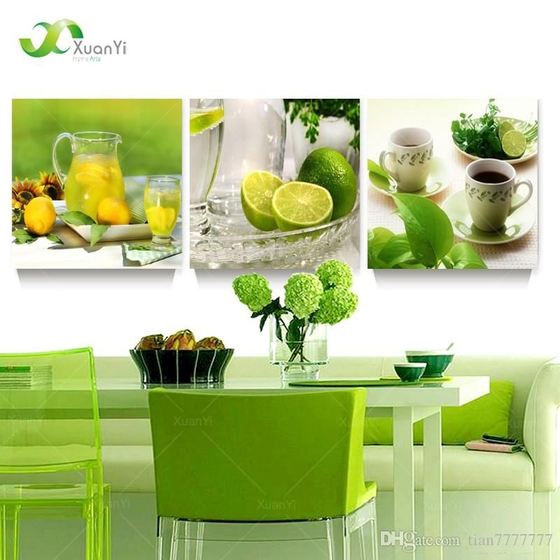 3 panel modern printed fruits lemon painting picture on canvas
