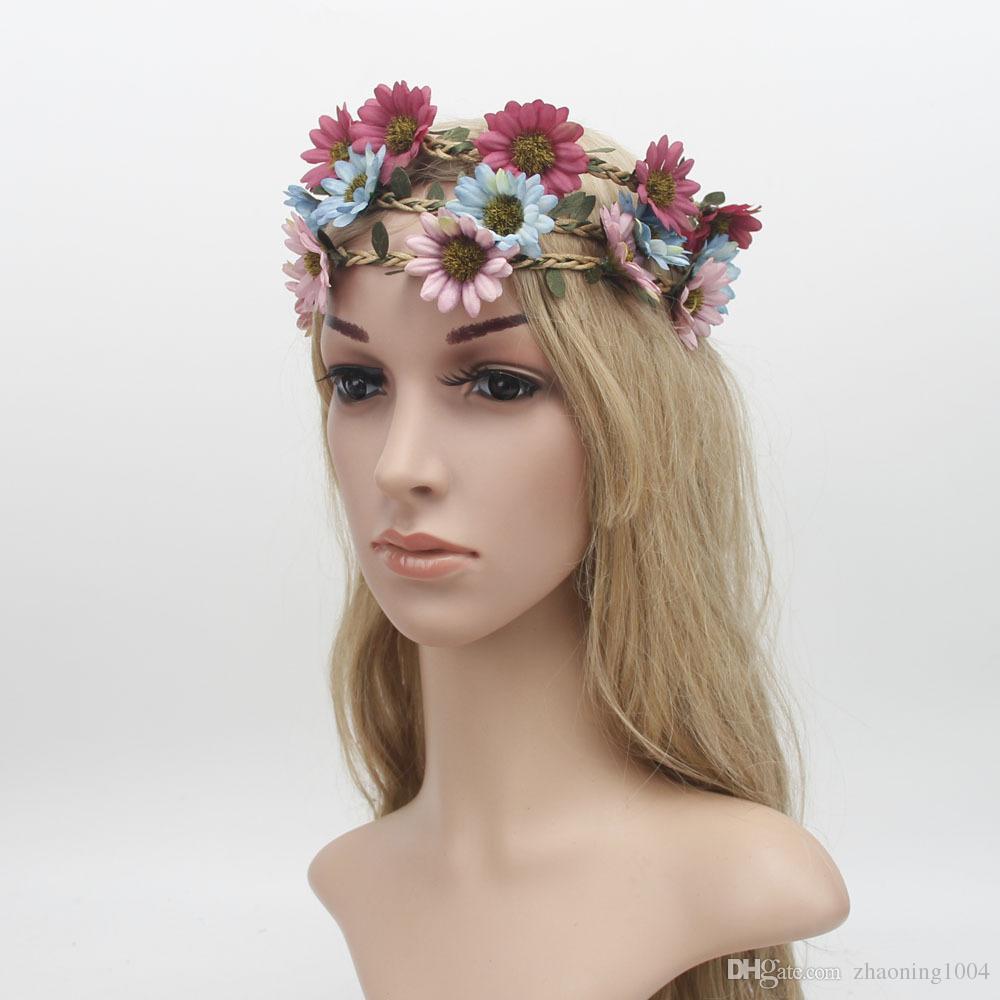 2018 Bridal Hair Wreath Flower Crown Headband Boho Head Pieces Prom