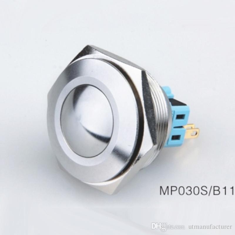 금속 파손 방지 순간 푸시 버튼 래칭 CMP 30mm 6V 12V 24V 220V에서 250V의 교류 / 직류 패널 마녀 방수 IP67를 다시 밀봉