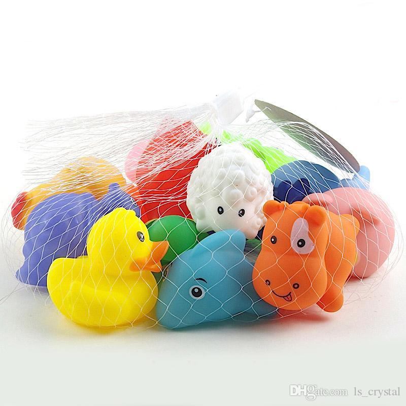 MINI Cartoon Animals Rubber Dolls Baby Bathing Water Toys Press Sounds Kids Swiming Beach Gifts Sand Play Water Fun Children Toys