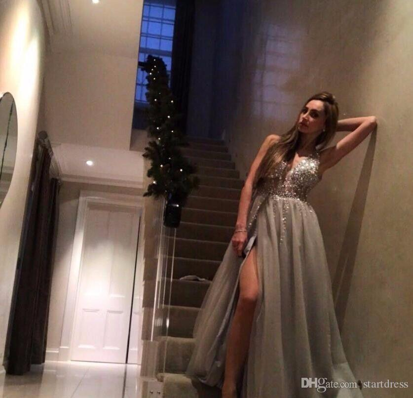 Chic Paolo Sebasti Prom Dresses Illusion Neck Rhinestone Beaded Evening Dresses Party Gowns Front Slit Berta Best Formal Dresses Low Back