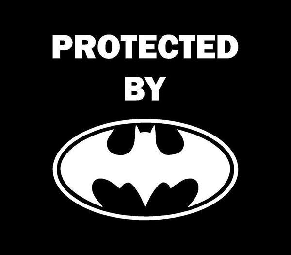 Protected By Batman Vinyl Decal Car Window Sticker Bat Man - Batman vinyl decal stickers