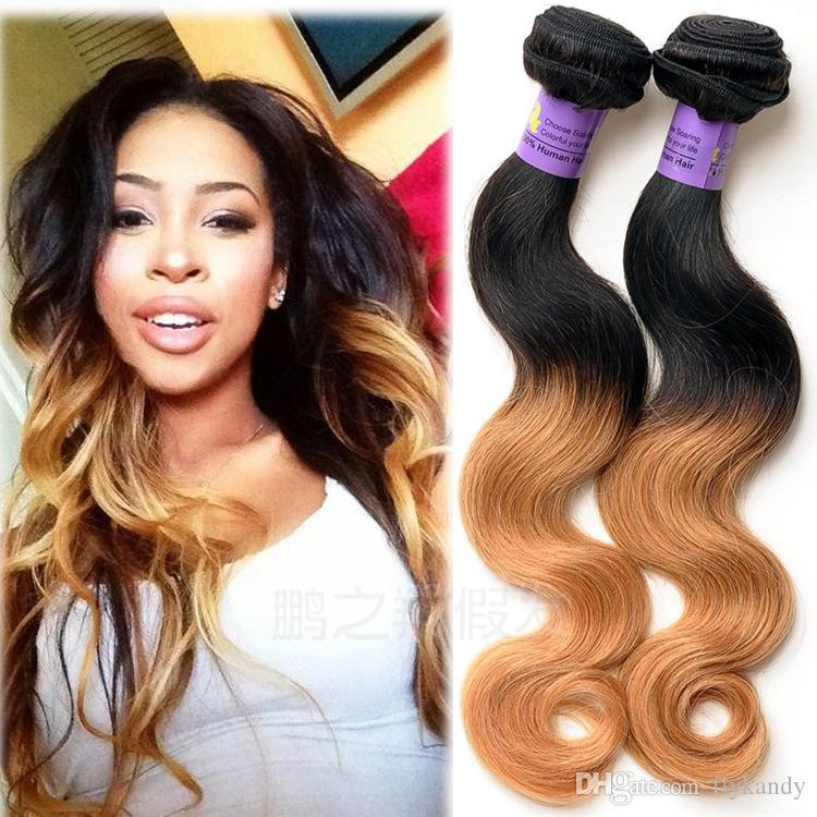 Graceful Smooth Ombre Human Weft Hair Virgin Brazilian Remy Body