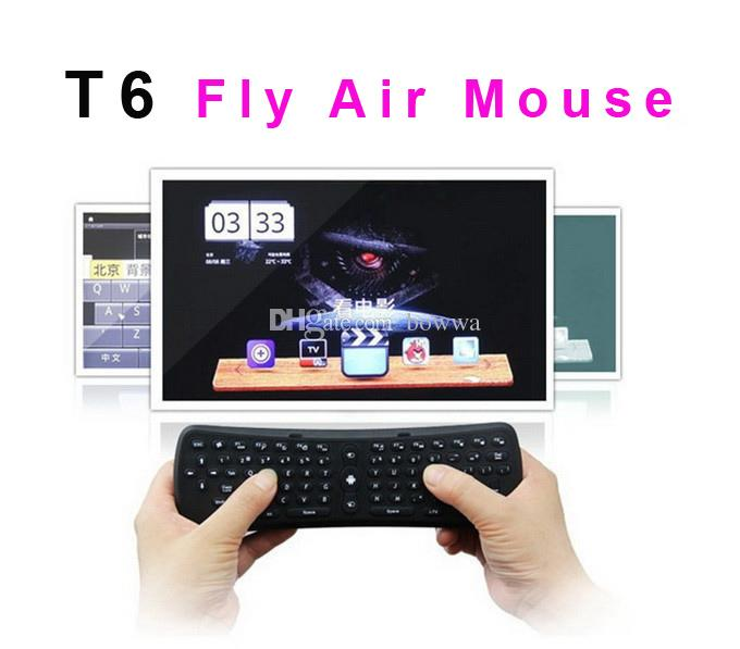 DHL Ship T6 Wireless Keyboard 2.4GHz G-sensor Gyro Fly Air Mouse Mini Gaming Keyboard For TV Box Laptop Tablet Mini PC