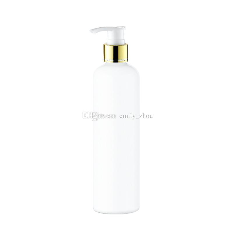 300ml leere Lotion Goldene Kragenpumpe weiße Flasche, PET-Kosmetikbehälter mit Flüssigseifenspender, bernsteinfarbene Spray-Mehrwegflasche