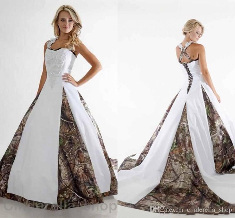 f2e50c583152b 2018 New Camo Wedding Dresses V-Neck Backless Spaghetti Streaps Country  Bridal Gowns Plus Size Sweep Train Cheap Customized Wedding Dresses Camo  Wedding ...