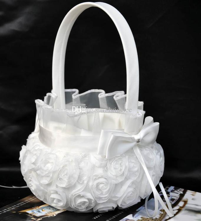 2020 À La Mode De Cérémonie De Mariage Partie Amour Cas Satin Bowknot Rose Fleur Fille Panier De Mariage Livre D'or Stylo Ensemble Anneau Oreiller