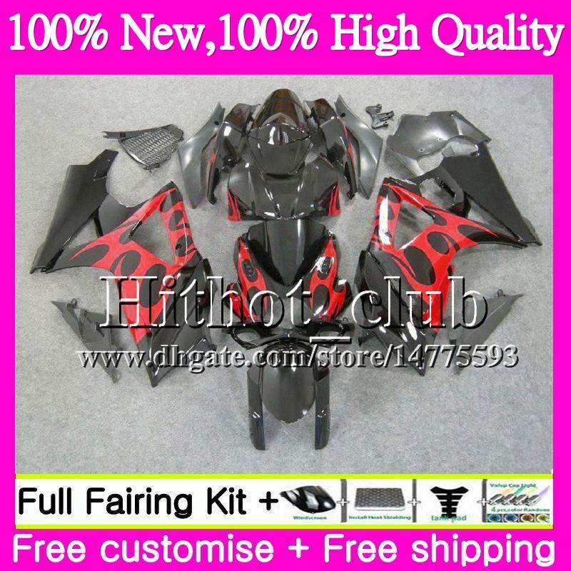 Bodys For SUZUKI GSXR-1000 K7 GSX-R1000 Red flame GSXR 1000 07 08 31HT17 GSXR1000 07 08 Bodywork GSX R1000 2007 2008 Red Motorcycle Fairing