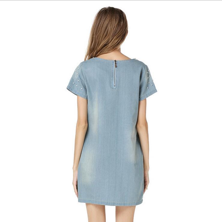 Women Clothes Plus Size S-5XL Dresses 2016 New Women Fashion Summer Dresses Denim Beaded Loose Short-sleeved Denim Dress for Womens