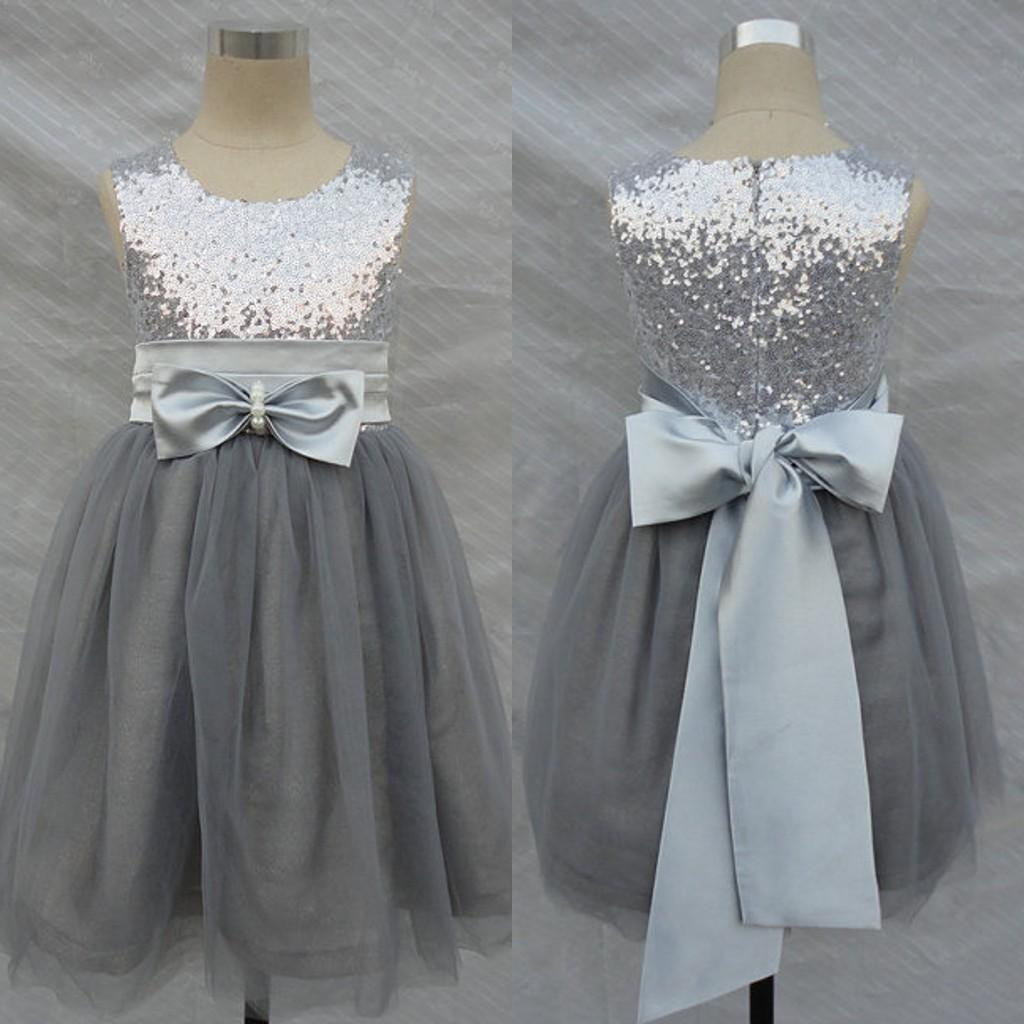 Bling Bling Flowers Girl Dresses Wedding Silver Grey Sequins Sash