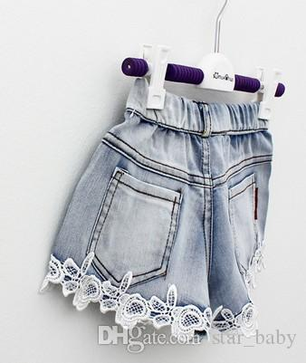 Vestiti delle neonate Pantaloncini della ragazza del pizzo Jeans Abbigliamento bambini 2015 Bambini di estate Demin Breve Jean Pantaloni casual Pantaloni di marca Cowboy Blu I2646