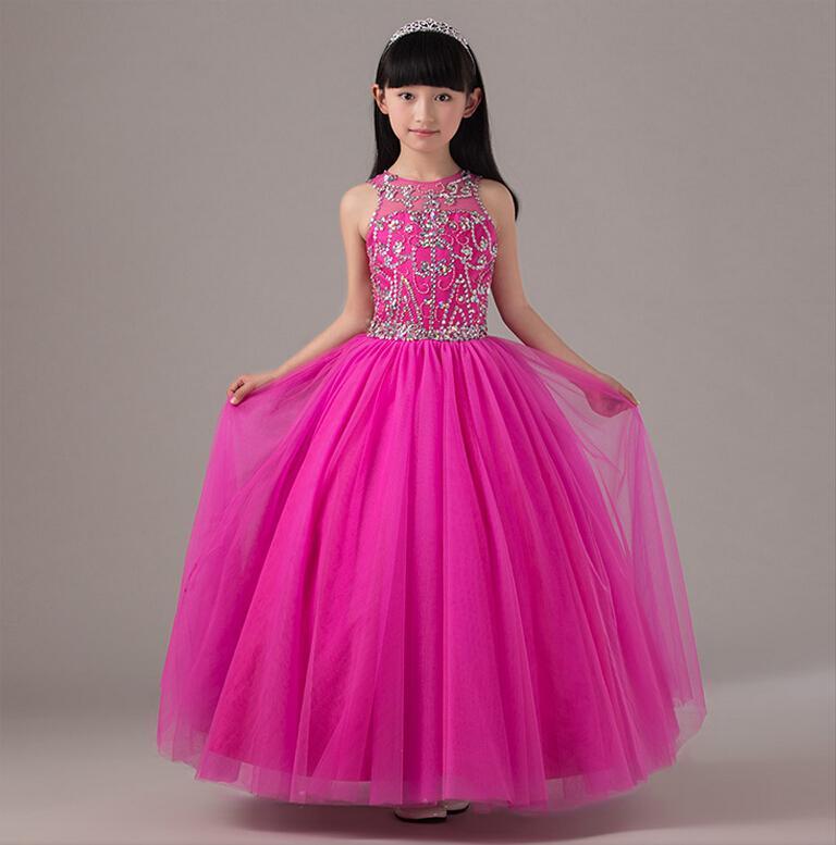 0c6fe124343 Lovely Princess Fuchsia Jewel Neckline Long Flower Girl Dresses Beads Tulle  Floor Length Ball Gown Backless Wedding Party Girl Dress Girl Shoes Girls  Dress ...