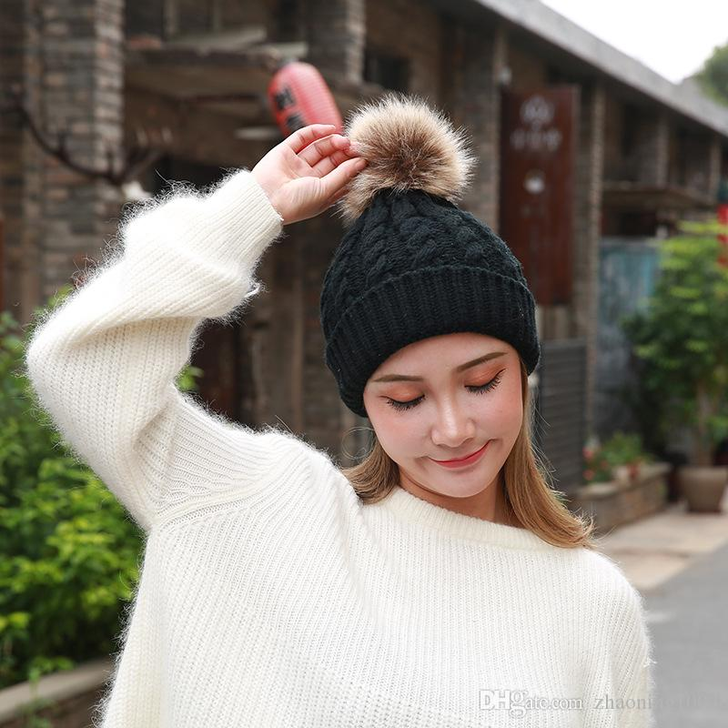 Designer Classic Knitted Winter Cable Hat Full Ball For Adults Fancy Women  Pom Rib Beanies Woman Yarn Thick Snow Cap Ladies Ear Head Warmer Beanie Cap  Watch ... 4b7f286addb3