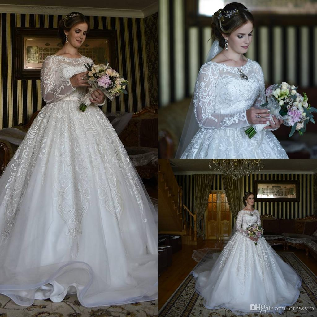 Discount Fall Winter Plus Size Wedding Dresses Lace Applique Beads A
