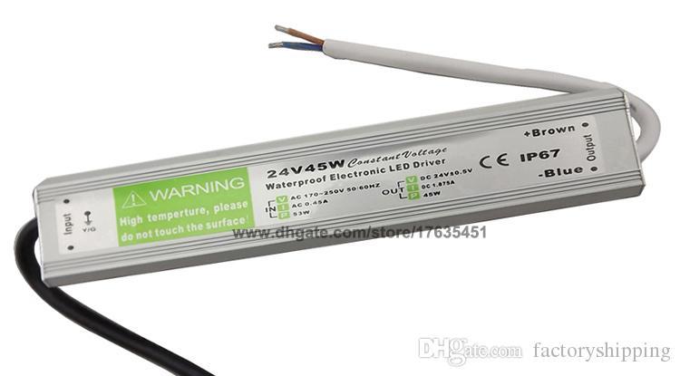 10 unids DC 24V 1.875A 45W Impermeable LED Conductor 45 W Transformador Fuente de alimentación Red Fedex / DHL Envío gratis