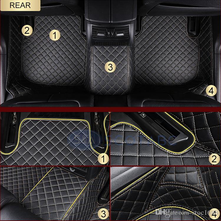 SCOTABC Custom Fit Front & Rear Car Foot Pads Leather Car Floor Mats FloorLiner for Acura CDX,All Weather Waterproof Anti-slip 3D Carpets